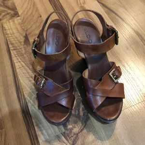 Aldo Brown Leather Strappy wooden Wedges